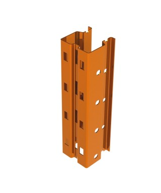 """Bolted single post 288"""" in 3.25"""" x 3.25"""" 13Ga painted orange"""