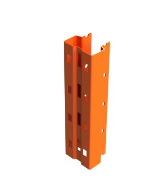 """Bolted single post 144"""" in 3.25"""" x 2.69"""" 14Ga painted orange"""